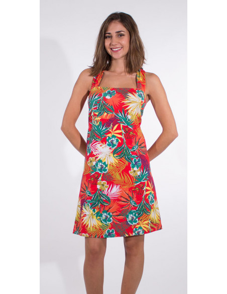 2 Vestido malla 97% algodon 3% elastano tirantes estampado vegetal