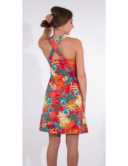 3 Vestido malla 97% algodon 3% elastano tirantes estampado vegetal
