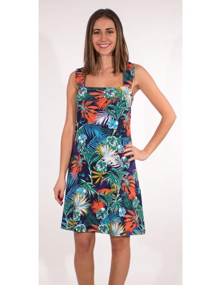 4 Vestido malla 97% algodon 3% elastano tirantes estampado vegetal