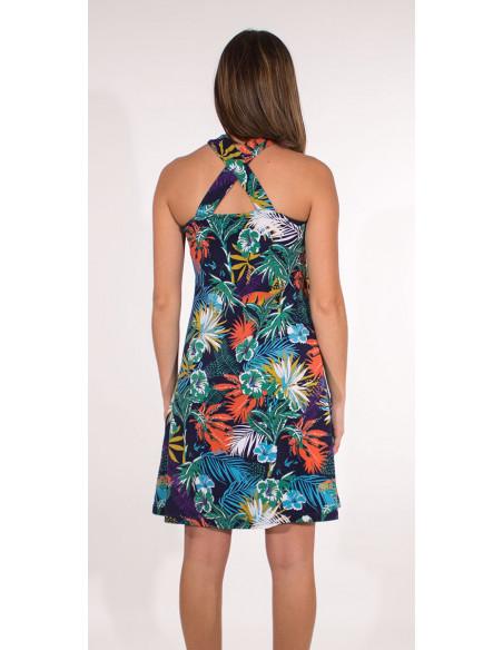 5 Vestido malla 97% algodon 3% elastano tirantes estampado vegetal