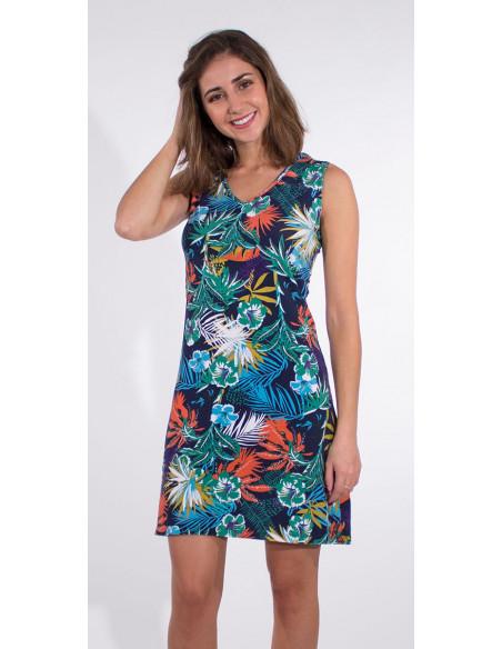 1 Vestido malla 97% algodon 3% elastano camiseta estampado vegetal