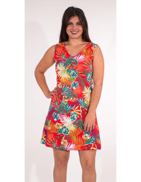 2 Vestido malla 97% algodon 3% elastano camiseta estampado vegetal