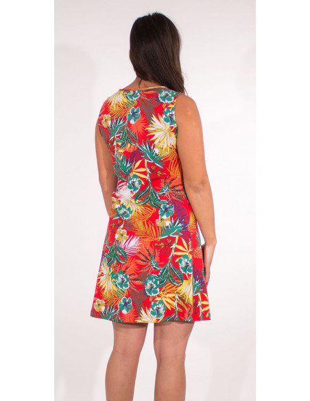 3 Vestido malla 97% algodon 3% elastano camiseta estampado vegetal