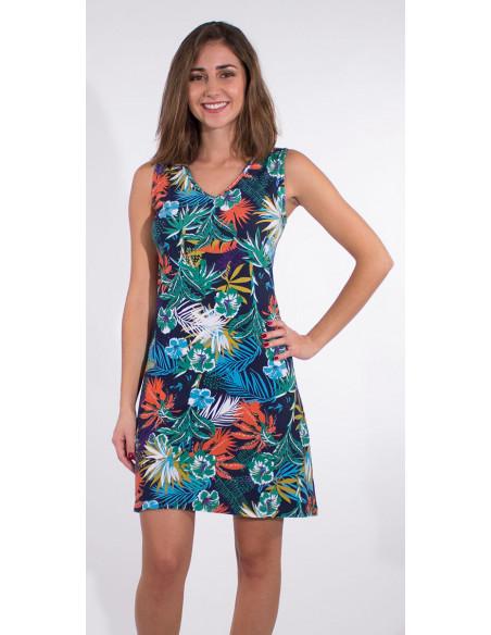 4 Vestido malla 97% algodon 3% elastano camiseta estampado vegetal