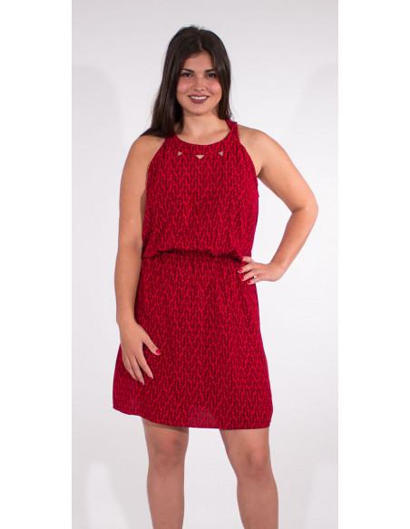 1 Vestido viscosa sin mangas estampado paon