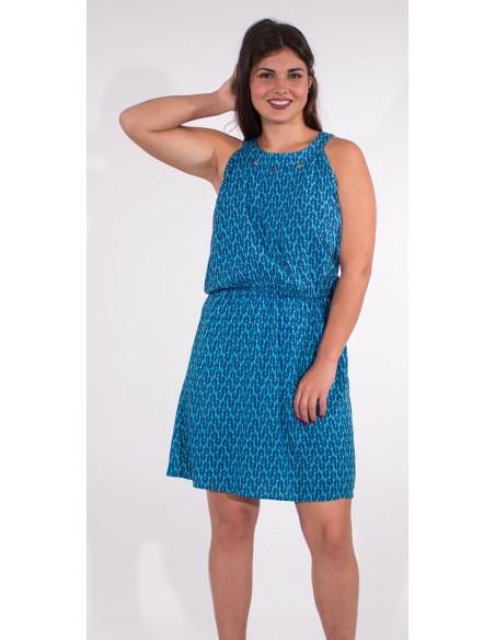 4 Vestido viscosa sin mangas estampado paon