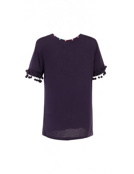 3 Camiseta 95% viscosa 5% elastano encaje y pompones en la mangas
