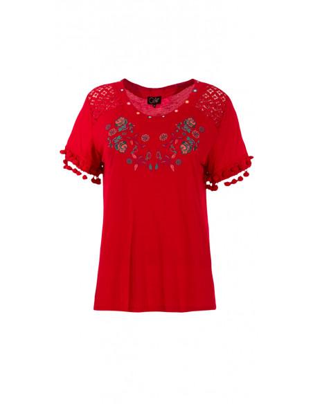 4 Camiseta 95% viscosa 5% elastano encaje y pompones en la mangas