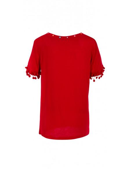5 Camiseta 95% viscosa 5% elastano encaje y pompones en la mangas