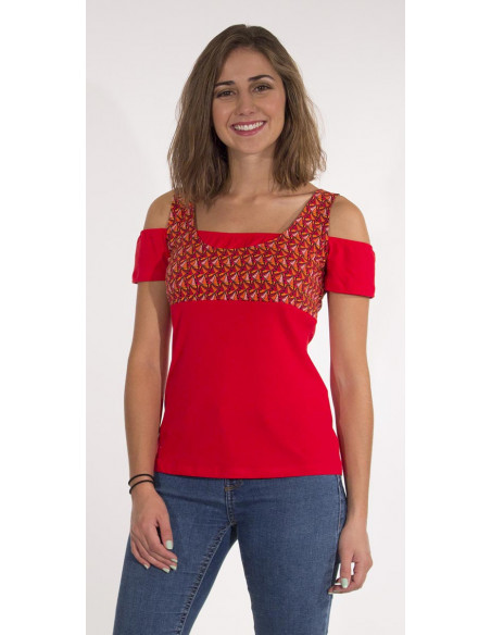 1 Camiseta 97% algodon 3% elastano mangas cortas estampado eventail