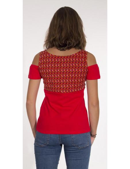 5 Camiseta 97% algodon 3% elastano mangas cortas estampado eventail