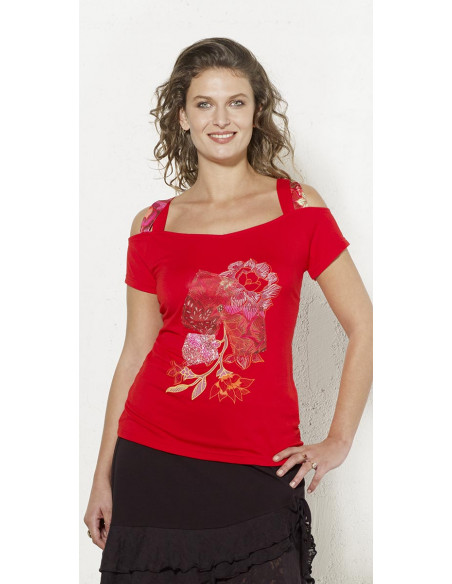 1 Camiseta 95% viscosa 5% elastano tirantes con patchs