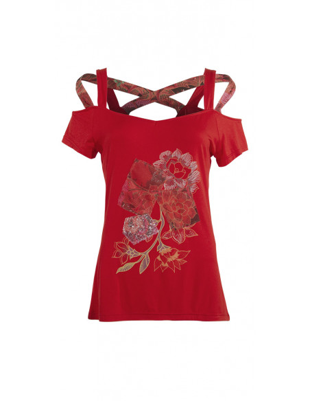 3 Camiseta 95% viscosa 5% elastano tirantes con patchs