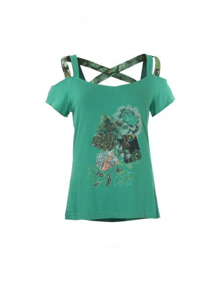 5 Camiseta 95% viscosa 5% elastano tirantes con patchs