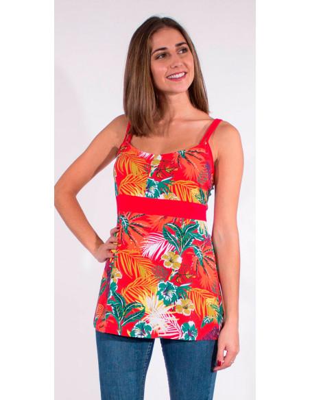 1 Camiseta 97% algodon 3% elastano tirantes estampado vegetal