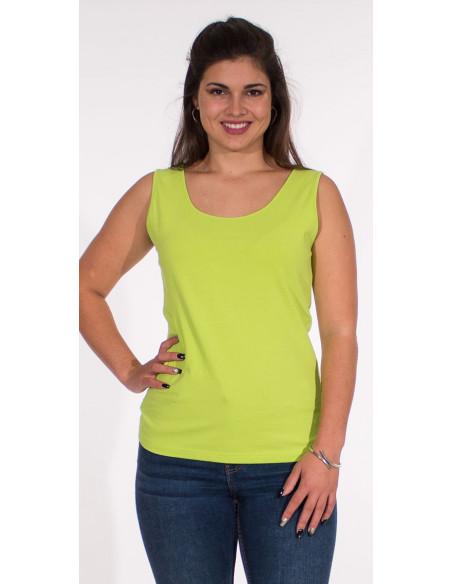 2 Camiseta 95% algodon 5% elastano sin mangas lisa